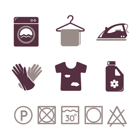 dry cleaner: Laundry icons set