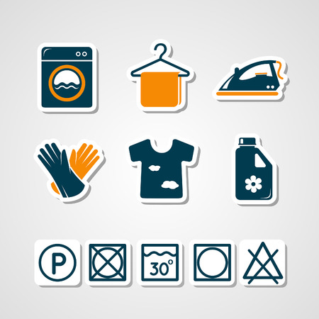 lavadora con ropa: Iconos de acceso de papel de lavander�a Vectores