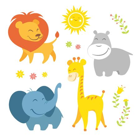 zoo animals: Cute african animals Illustration