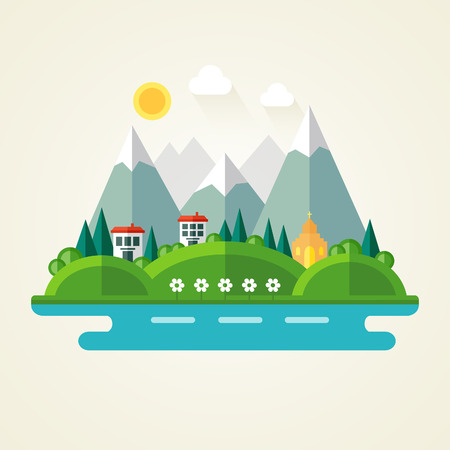 Nature landscape flat icon Illustration
