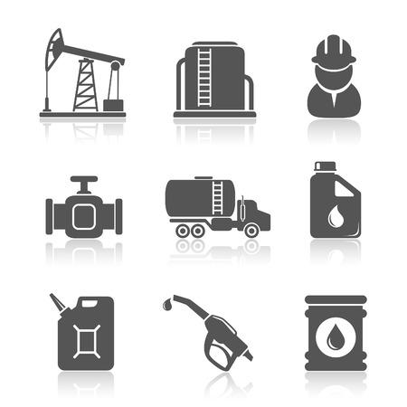 oil refinery: Oil industry petroleum processing icons set Illustration