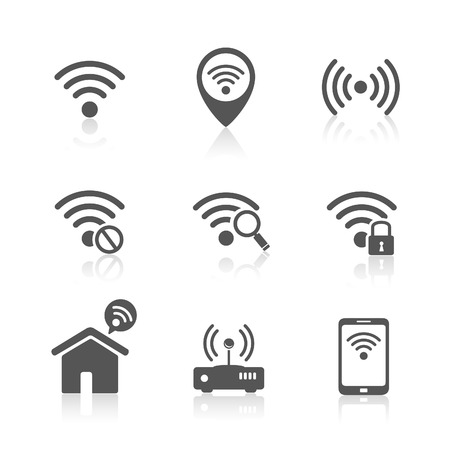 Wireless local network internet access point icons Illustration
