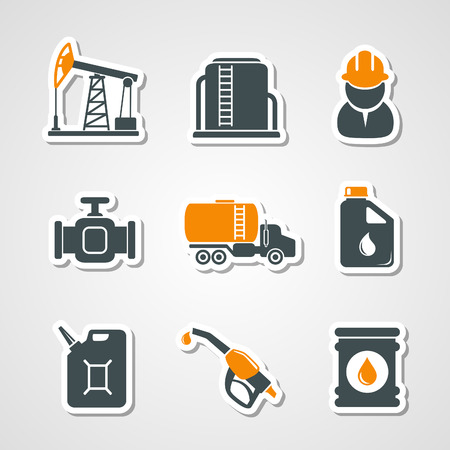 benzene: Oil and gas industry icons set