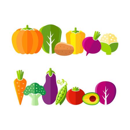 Organic farm vegetables illustration in flat style Vector