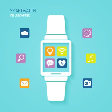 fitness workout: Smart watch wearable device with apps icons flat design