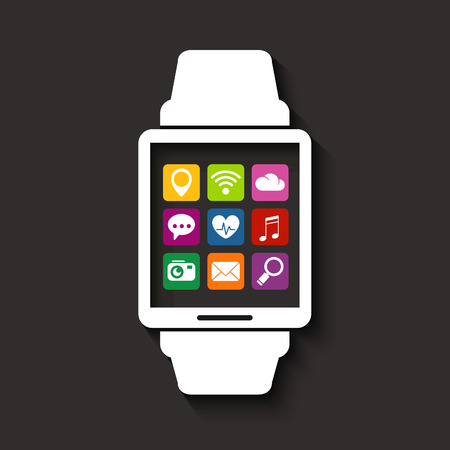 watch: Wearables technology device smartwatch with apps icons