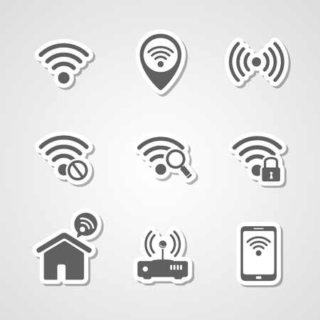 access point: Wireless local network internet access point icons set