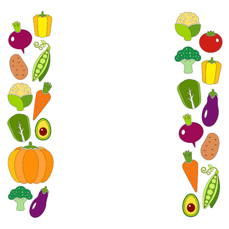 Healthy diet flat style illustration with fresh organic vegetables Vector