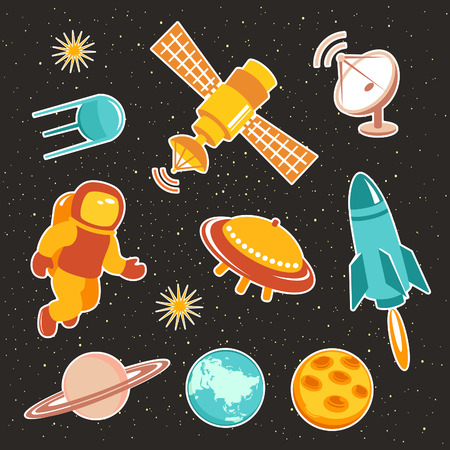 astronautics: Space ship icons with planets, rockets, stars and astronaut Illustration