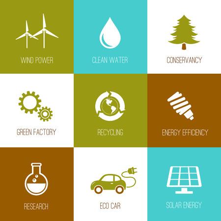Ecología y conservación de la naturaleza iconos diseñados plana Foto de archivo - 38748474