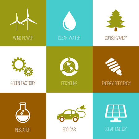 conservancy: Ecology and nature conservation icons flat designed