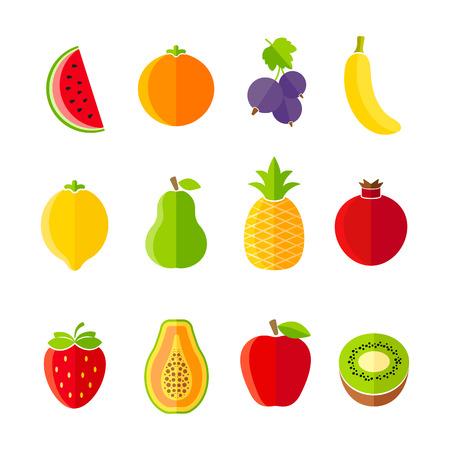 Biologische verse vruchten en bessen icon set plat ontwerp