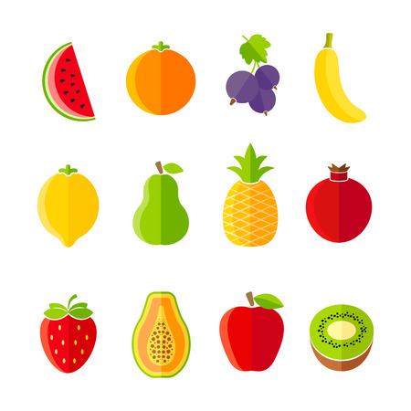 Organic fresh fruits and berries icon set flat design
