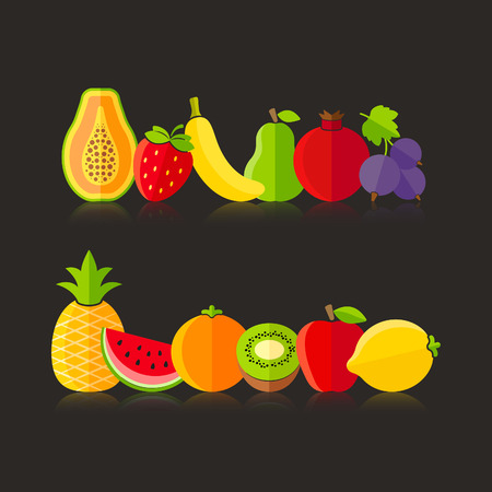 Organic farm fruits illustration in flat style on black background Vector