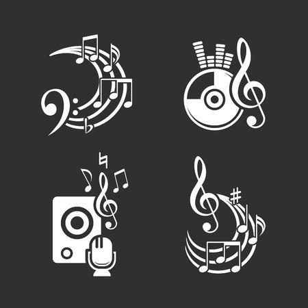 music dj: Music design elements and note icons set Illustration