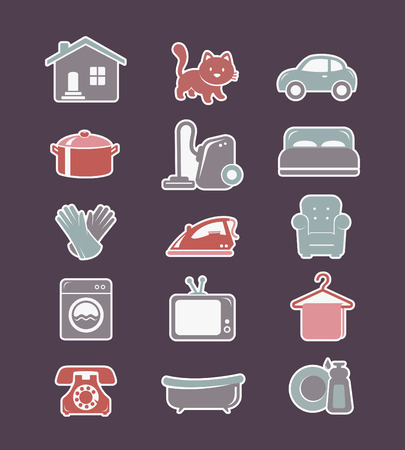 cleaning cloth: House cleaning and household appliances flat icons Illustration