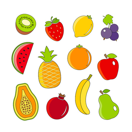 Organic fresh fruits and berries icons outline design Vector