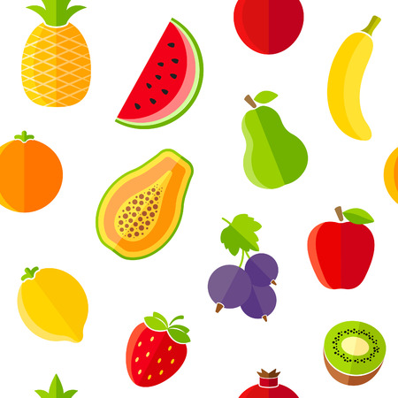 Seamless pattern with fresh organic fruits Vector