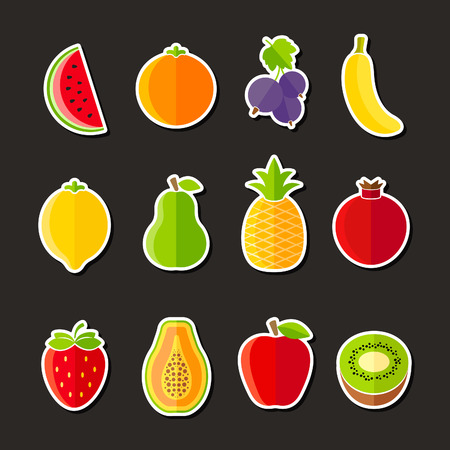 Organic fresh fruits and berries icons flat design on black background Vector