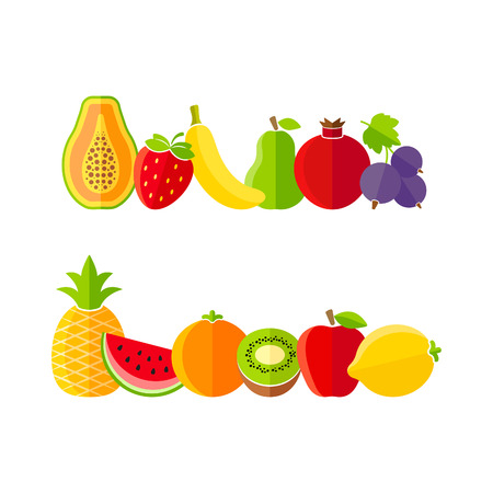 Organic farm fruits illustration in flat style Vector