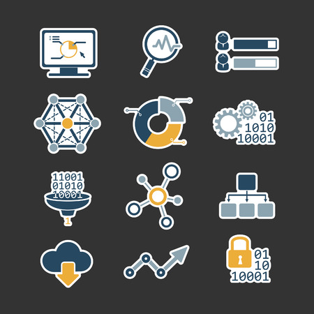 Business data analytic flat style icons set Vector
