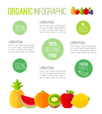 food menu: Organic infographic fresh fruits illustration Illustration