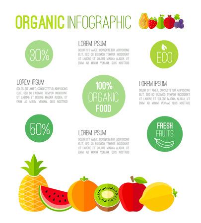 Organic infographic fresh fruits illustration