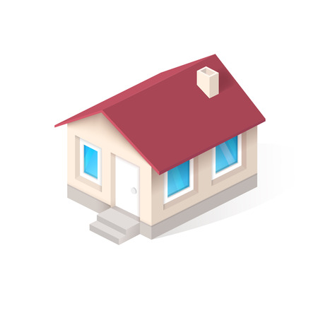 concrete stairs: House isometric vector icon