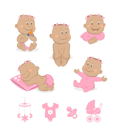welcome baby: African baby girl vector set Illustration