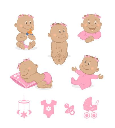 teteros: Beb� africano conjunto vector de la muchacha Vectores