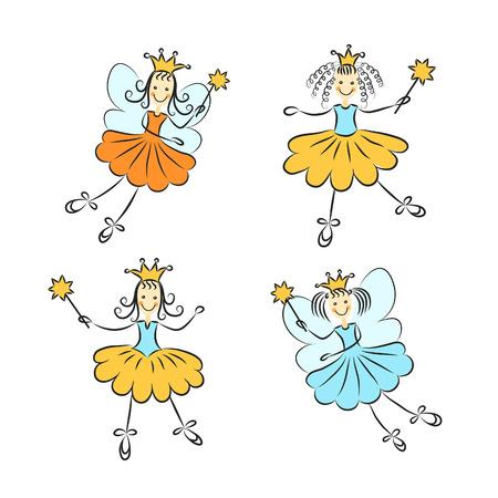 girl magic wand: Fairy princess with a magic wand set