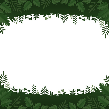 greenness: Green leaves and plants frame on white background Illustration