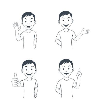 employee satisfaction: Funny cartoon office worker in various poses