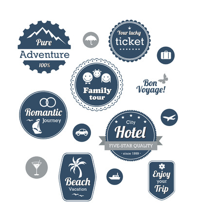Typography design of travel and cruise tours labels and badges Vector