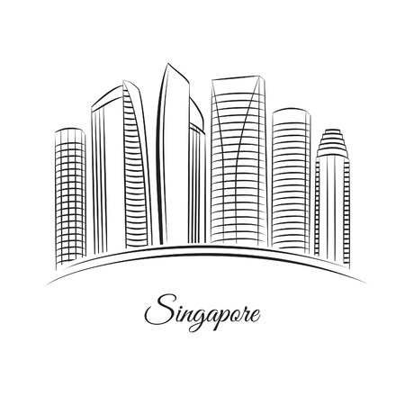 buildings vector: Singapore city skyline