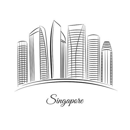 edificios: Singapur horizonte de la ciudad Vectores