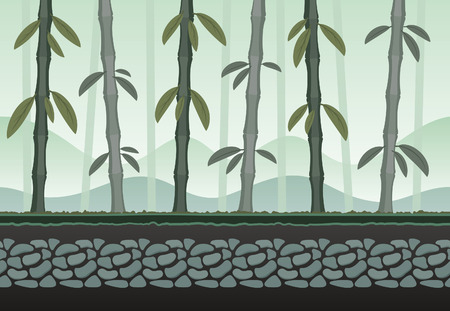 rock layer: Seamless bamboo landscape for game background. It can be repeated or tiled without any visible seams