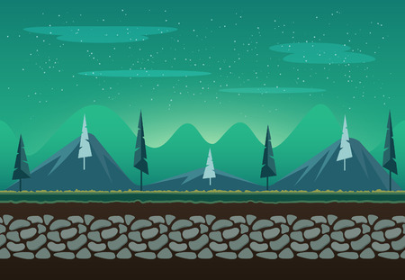 Seamless landscape for game background. It can be repeated or tiled without any visible seams