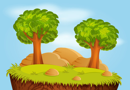 rock layer: Nature landscape with trees and stones for game background