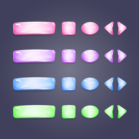 shiny buttons: Shiny glass buttons of different shapes for game interface and web design