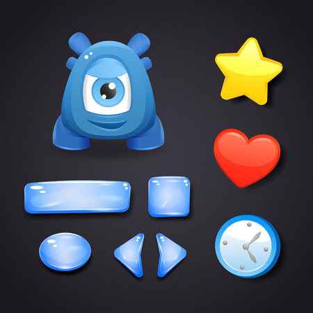 web buttons: Interface icons for game design with resources and monster