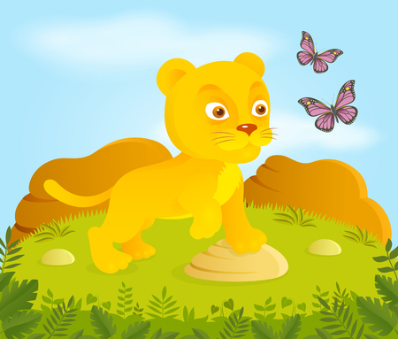cartoon king: Little cartoon lion with butterflies Illustration