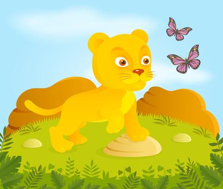 leon bebe: Peque�o le�n de dibujos animados con mariposas