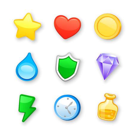 estrella caricatura: Arte del juego conjunto de iconos de diseño vectorial Vectores