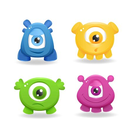 mutant: Cartoon cute monsters on white background