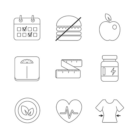 dietology: Healthy fitness diet icons linear set