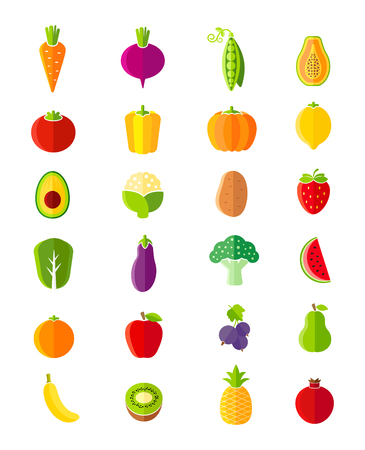 fruits and vegetables: Organic fruits and vegetables flat style icons set