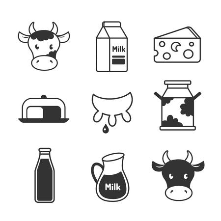 vacas lecheras: Los productos l�cteos y leche de conjunto de iconos
