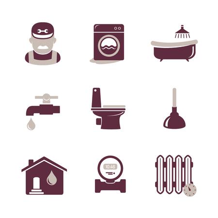 plumbing accessories: Plumbing and engineering icons set Illustration