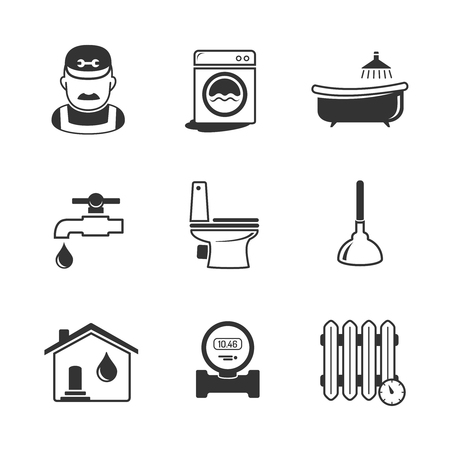 plumbing accessories: Plumbing and engineering linear icons